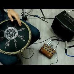Guda Freezbee drum + Orbis Mage pickups + Orbis Quattro  pedal amplified sound