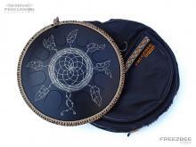 Guda steel tongue drum Dreamcatcher design. Photo with bag