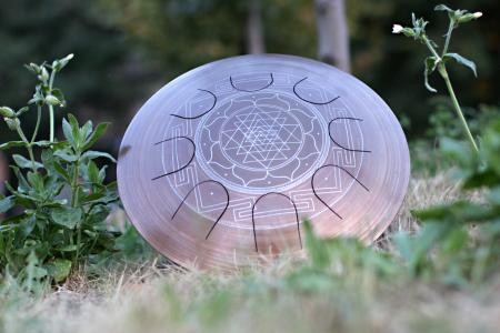 Freezbee steel tongue drum. Sri-Yantra. photo 6